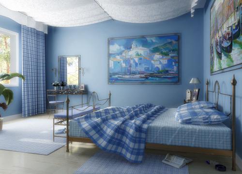 Голубая ванная - дизайн в бело-голубых тонах, сочетание с