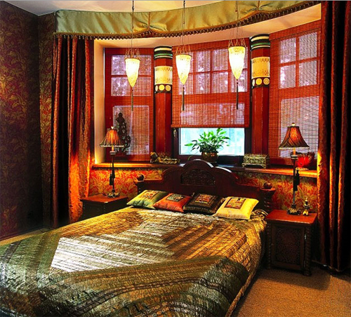 31.Интерьер спальни в индийском стиле.